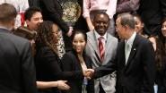 Des étudiantes du Master 2 MSI en stage à l'ONU avec le secrétaire général Ban Ki-moon